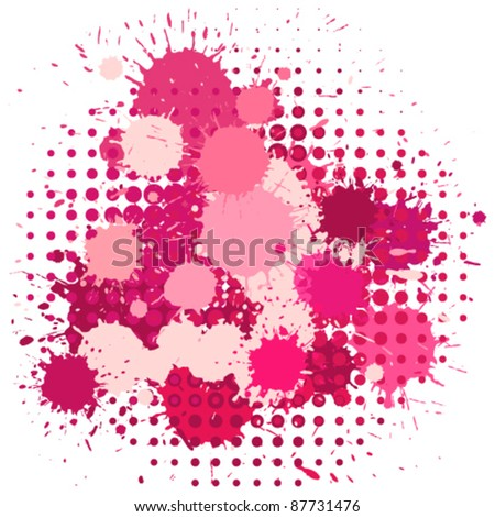 Set of ink blots and halftones patterns in pink colors