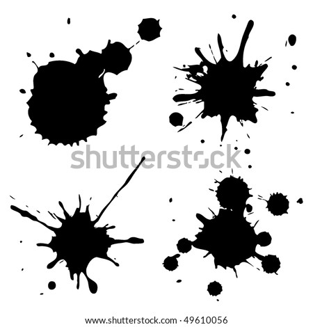 Set of ink blots in black and white.