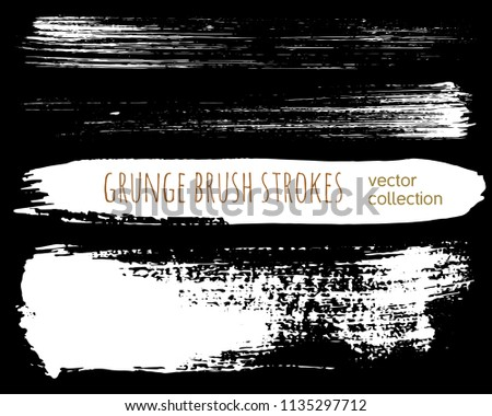 Set of ink vector stains. Grunge brush collection isolated on black #1135297712