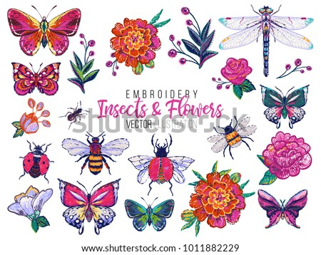 set of insects and flowers...