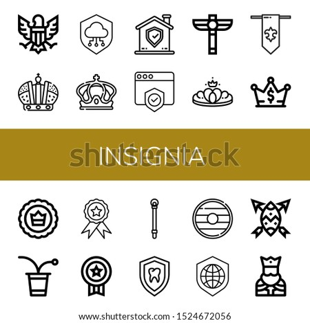 Set of insignia icons. Such as Eagle, Crown, Shield, Scepter, Fleur de lis, Beer pong, Badge, Sceptre, King , insignia icons