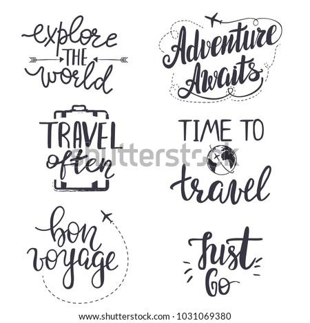 "Set of inspirational travel quotes. Translation of the phrase ""bon voyage"" - ""good trip""."