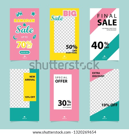 set of Instagram stories ramadan sale banner background, instagram template photo, can be use for, landing page, website, mobile app, poster, flyer, coupon, gift card, smartphone template, web design #1320269654