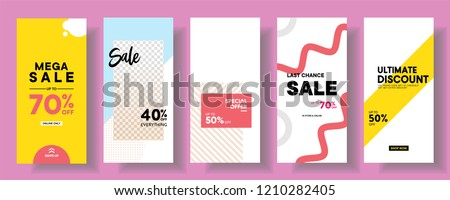 set of Instagram stories sale banner background, instagram template photo, can be use for, landing page, website, mobile app, poster, flyer, coupon, gift card, smartphone template, web design