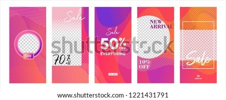 set of Instagram stories sale banner background, instagram template photo, summer sale can use for, website, mobile app, poster, flyer, coupon, gift card, smartphone template, web design