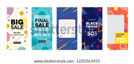 set of Instagram stories sale banner background, instagram template photo, year end sale can use for, backdrop, website, mobile app, poster, flyer, coupon, gift card, smartphone template, web design