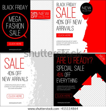 Set of instagram template for Black friday sale and advertising. Vector illustration.