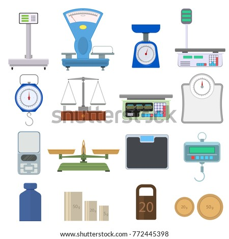 Set of instruments for weighing. Scales in flat style. Device for measuring weight. Isolated on white background. Vector illustration.