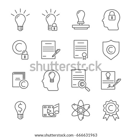 Set of intellectual property Related Vector Line Icons. Contains such icon as  thinking, creative, documents, intelligence, invention, patent, idea
