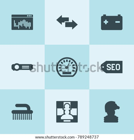 Set of 9 interface filled icons such as speedometer, car battery, clean brush, arrow, chess, projector, web window