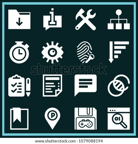 Set of 16 interface filled icons such as tools cross settings symbol for interface, transparency, save, placeholder, bookmark, chat bubble, checklist, folder, eye