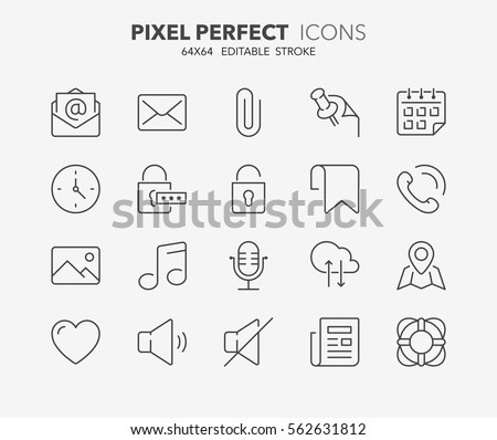 Set of interface line icons. Contains icons as email, help, news, call phone, location and more. Editable stroke. 64x64 Pixel Perfect.