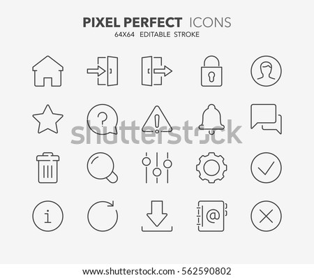 Set of interface line icons. Contains icons as settings, log in, user, search, download and more. Editable stroke. 64x64 Pixel Perfect.
