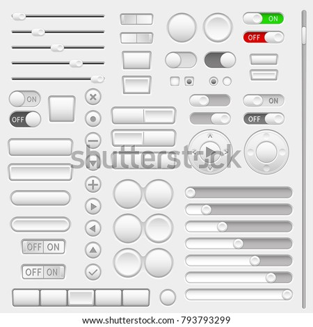 Set of interface navigation buttons, sliders, media buttons. Vector 3d illustration
