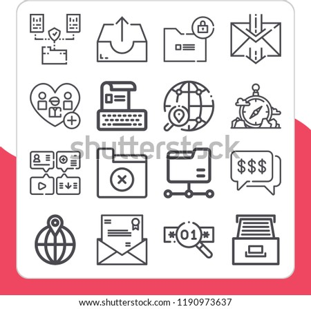 Set of 16 interface outline icons such as dialogue, folder, add, outbox, compass, email, cabinet, resume, message, password, worldwide #1190973637