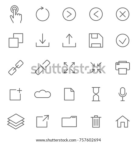 Set of Interface Related Vector Line Icons. Includes such Icons as ahead, arrow, close, save, play, link, print and etc.
