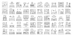Set of 50 interior design in outline style. Collection include different workspace, kitchen, bedroom, living room. Thin line vector illustration isolated on white background.
