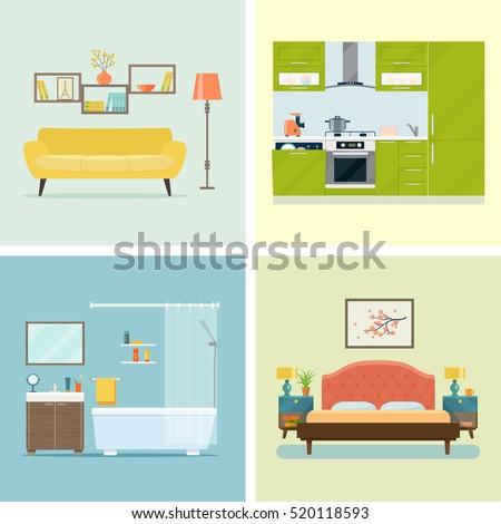 Set of interior design room . Living room, bedroom, kitchen and bathroom. Vector flat illustration