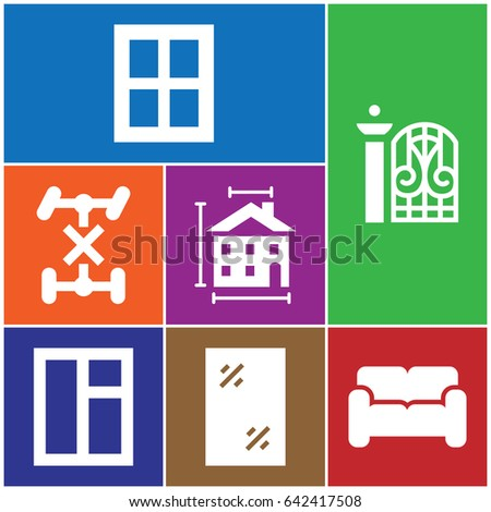 set of 7 interior filled icons