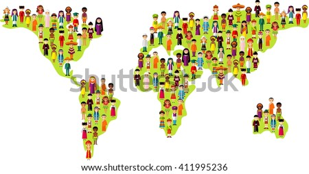 Set of international people in traditional costumes on the map world