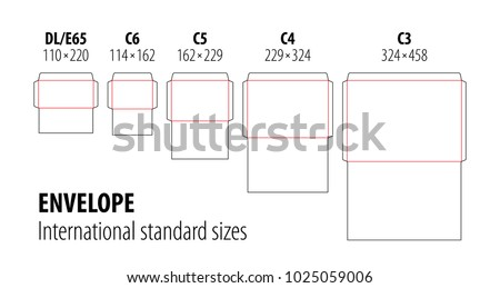 Set of international standard envelopes for office document or message, vector die cut template. Stamp. Vector black isolated circuit envelope, A6, A5, A4, A3, DL, E65, C6, C5, C4 dimensions.