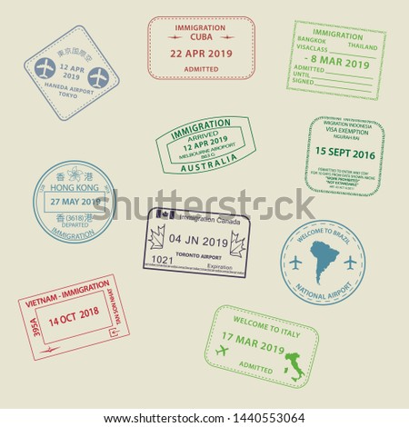 Set of International travel visas passport stamp icons for entering to Australia, Thailand, Brazil, Canada, Cuba, Hong Kong, Indonesia, Vietnam