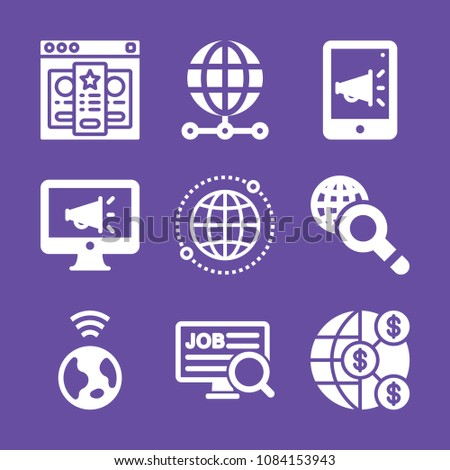 set of 9 internet filled icons