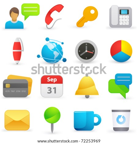 Set of internet icons on a white background