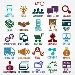 Set of internet services icons - part 1 - vector symbols