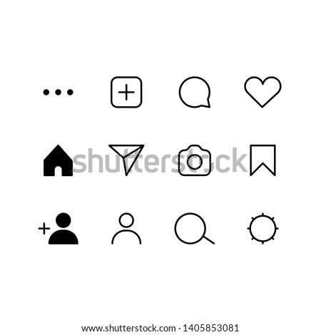 Set of internet social media instagram icons. Vector interface illustration: like, follower, comment, home, camera, user, search.