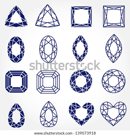 Set of 16 Inverse Gemstones, Vector Illustration. Also see other sets