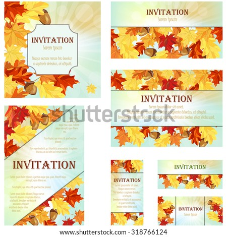 set of invitation cards in