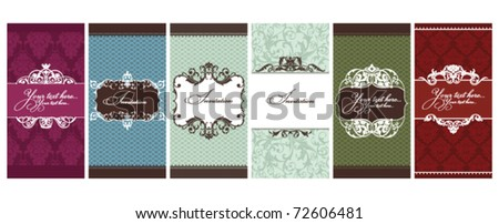 set of invitation cards vector illustration