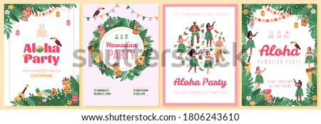 Set of invitation posters for Hawaiian Aloha party with characters of dancers and tropical plants, flat cartoon vector illustration. Summer party banners.