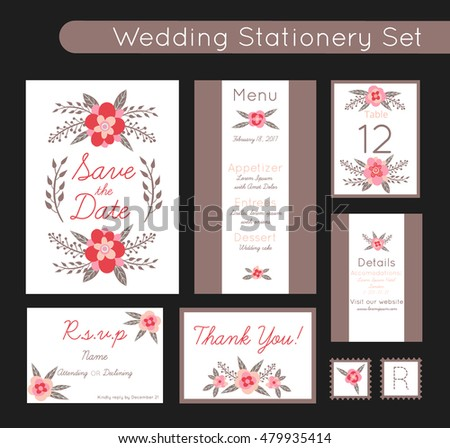 Set of invitations templates, save the date, menu, rsvp, tag - wedding stationery with beautiful trendy floral decorations. 100% Vector illustration with flowers, plants details.