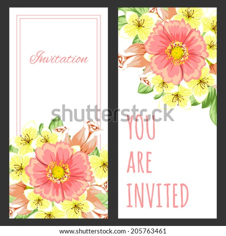 Set of invitations with floral background #205763461