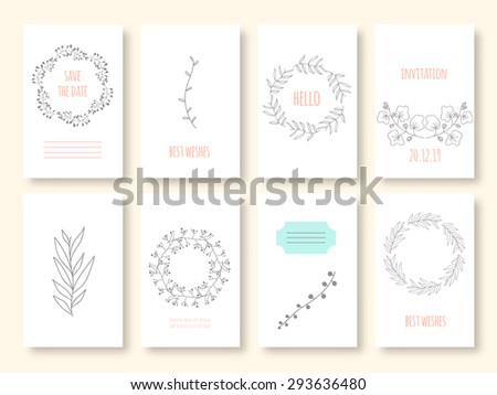 Set Of Invitations With Hand Draw Flower Elements Vintage And Rustic Style