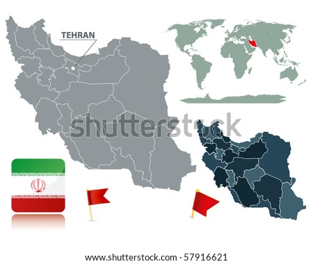 Set of Iran maps, red flag pins and flag icon. Cartography collection.