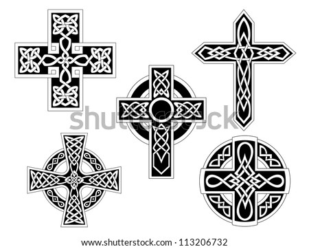 set of irish celtic crosses