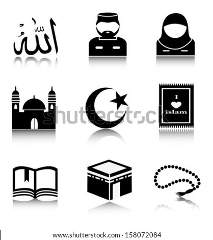 Set of Islamic icons as well as the Arabic word denoting God