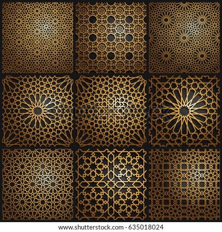 Set of islamic oriental patterns , Seamless arabic geometric pattern. Vector traditional muslim background. east culture, indian heritage, arabesque, persian motif, 3D. Ramadan kareem. Endless texture