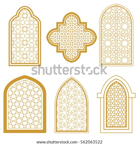 Set of islamic ornamental window. Arabic traditional architecture. Template for design