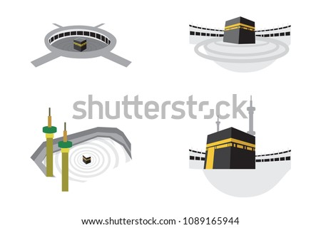 Set of Islamic vector design kaaba in Mecca icon for Hajj and Ramadan or Eid. Islamic Icons mosque Mecca Eid Mubarak Line Art Icons Set Pray Kabah moon mosque Mecca. Vector illustration.