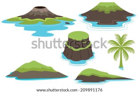 set of islands and volcano