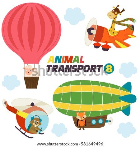stock-vector-set-of-isolated-air-transports-with-animals-vector-illustration-eps