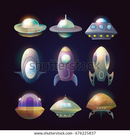 Set of isolated alien spaceships and rocket. Flying ufo technology for traveling trough universe, cartoon flight unidentified disk or aircraft, astronaut vessel. Cosmos and astronomy, galaxy theme