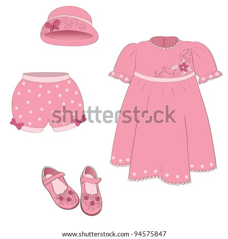 set of isolated baby girl pink dress, hat, shoes, pants on white. vector illustration.