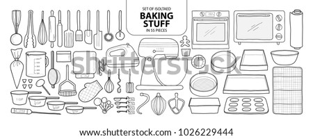 Set of isolated baking stuff in 55 pieces. Cute hand drawn kitchen tools vector illustration in black outline and white plane on white background.
