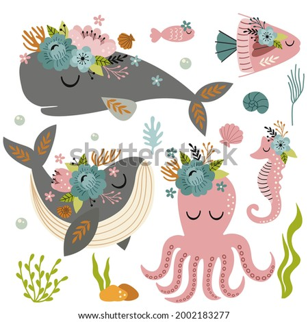 set of isolated beautiful sea animals with flowers