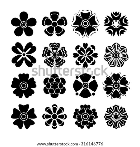 Set of 16 isolated black flowers #316146776